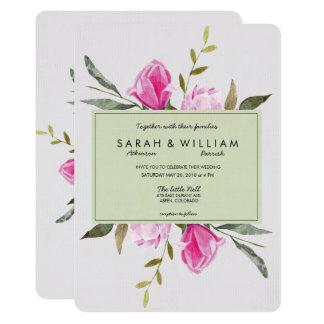 Magnolia Floral Watercolor Wedding Invitation