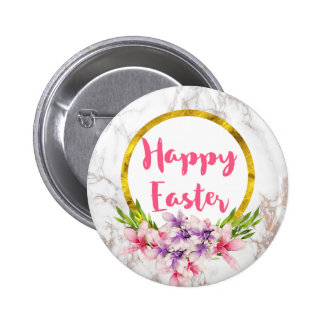Magnolia Florals on White Marble Easter 6 Cm Round Badge