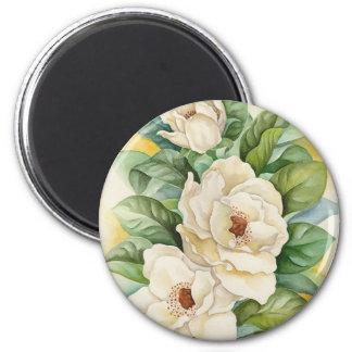 Magnolia Flower Watercolor Art - Multi 6 Cm Round Magnet