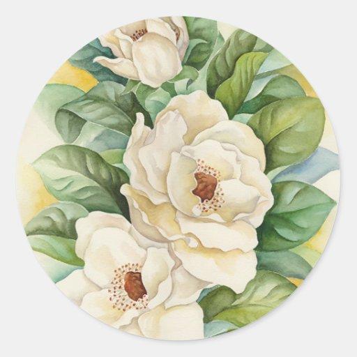 Magnolia Flower Watercolor Art - Multi Round Stickers
