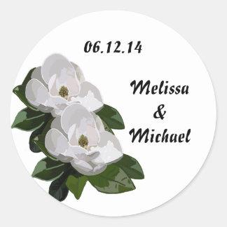 Magnolia Flower Wedding Save the Date Classic Round Sticker