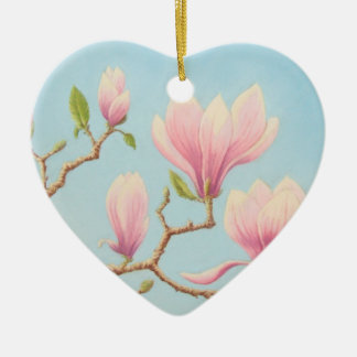 Magnolia Flowers in Bloom, Pastel Happy Birthday Ceramic Heart Decoration