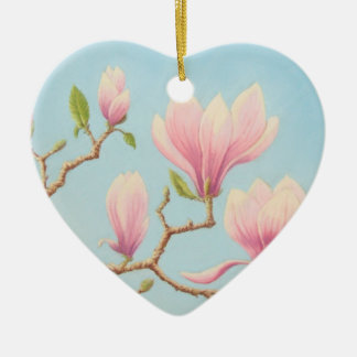 Magnolia Flowers in Bloom, Pastel Mothers Day Ceramic Heart Decoration