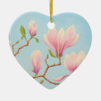 Magnolia Flowers in Bloom Pastel Will You Marry Me Ceramic Heart Decoration