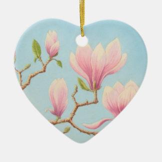 Magnolia Flowers in Bloom, Wisley Gardens, Pastel Ceramic Heart Decoration