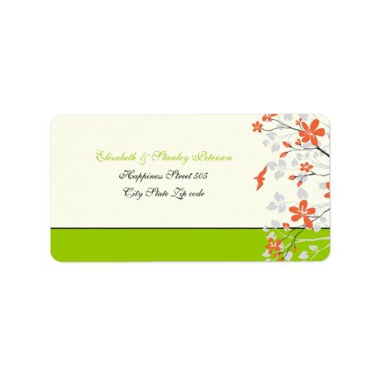 Magnolia flowers orange lime green wedding label