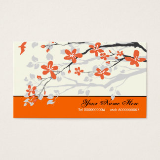 Magnolia flowers tangerine orange floral business card