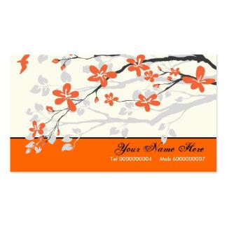 Magnolia flowers tangerine orange floral pack of standard business cards