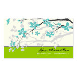 Magnolia flowers turquoise green floral pack of standard business cards