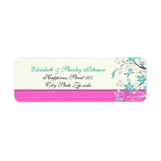 Magnolia flowers turquoise, hot pink wedding label