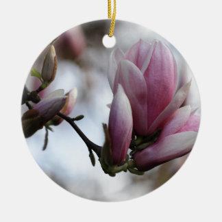 magnolia in bloom round ceramic decoration