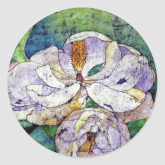 Magnolia in blue.jpg classic round sticker