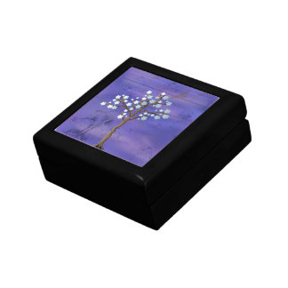 Magnolia Inspired Tree on Blue Gift Box