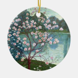 Magnolia (oil on canvas) christmas ornament