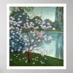 Magnolia (oil on canvas) print
