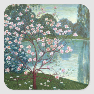 Magnolia (oil on canvas) square sticker