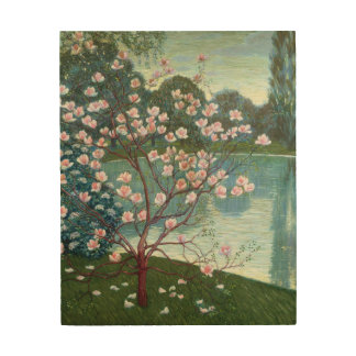 Magnolia (oil on canvas) wood wall decor