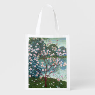 Magnolia (oil on canvas) reusable grocery bag