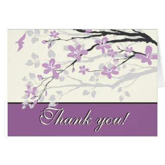 Magnolia purple flowers wedding Thank you card