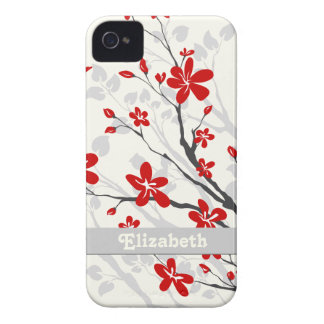 Magnolia red flowers floral custom iPhone 4 Case-Mate case