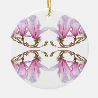 Magnolia Round Ceramic Decoration
