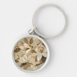Magnolia Simplicity Cream Silver-Colored Round Key Ring