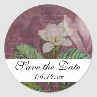 Magnolia Song Save the Date Round Stickers