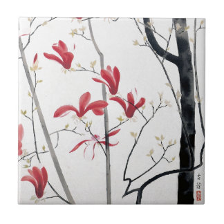 Magnolia Tree Painting Small Square Tile