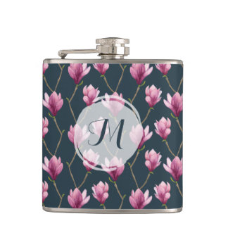 Magnolia Watercolor Floral Pattern Hip Flask