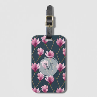 Magnolia Watercolor Floral Pattern Luggage Tag