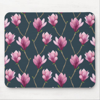 Magnolia Watercolor Floral Pattern Mouse Mat