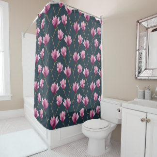 Magnolia Watercolor Floral Pattern Shower Curtain