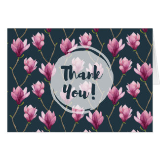 Magnolia Watercolor Floral Pattern Thank You Card