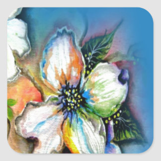 Magnolia with Blue Background Design Square Sticker
