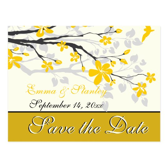 Magnolia with yellow flowers wedding Save the Date Postcard