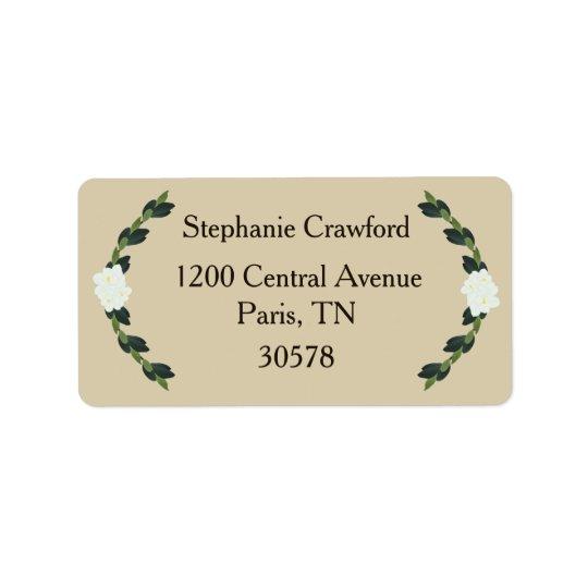Magnolia Wreath Wedding Invitation Labels