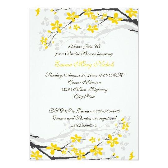 Magnolia yellow, grey flowers bridal shower card