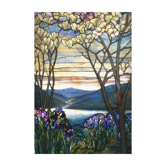 Magnolias and Irises Stained Glass Window Canvas Print