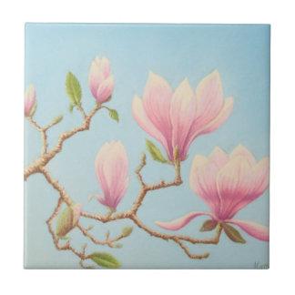 Magnolias at Wisley Gardens Pastel Ceramic Tile