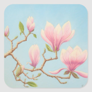 Magnolias at Wisley Gardens Pastel Square Stickers