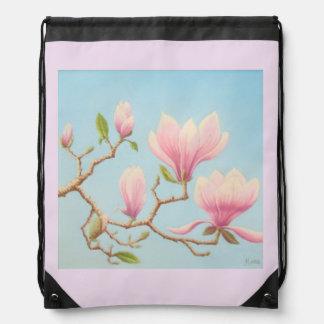Magnolias in Bloom Wisley Gardens Drawstring Bag