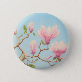 Magnolias in Bloom, Wisley Gardens in Pastel 6 Cm Round Badge