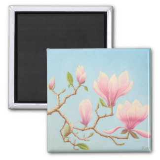 Magnolias in Bloom, Wisley Gardens in Pastel Square Magnet