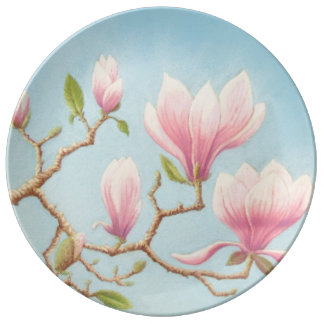 Magnolias in Bloom, Wisley Gardens Porcelain Plate