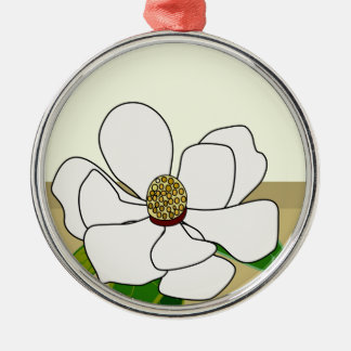 Magnolias Silver-Colored Round Decoration