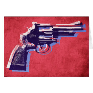 Magnum Revolver on Red Greeting Card