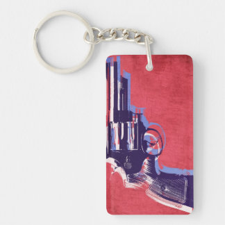 Magnum Revolver on Red Key Chain
