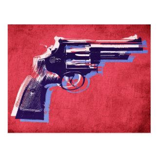 Magnum Revolver on Red Postcard