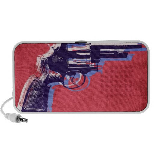 Magnum Revolver on Red iPod Speakers