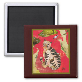 Magpie and Tiger: Korean Folk Art Square Magnet